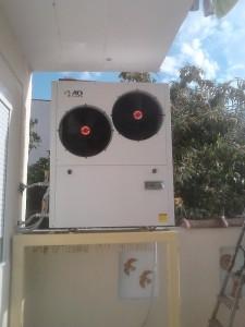 Η αντλία θερμότητας χαμηλών θερμοκρασιών 17 KW που εγκαταστάθηκε στην οικία του κ. Γιώργου Αναγνώστου στην Κατερίνη