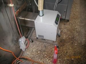 Ο καυστήρας τοποθετήθηκε σε ειδική ράμπα με ρόδες για την εύκολη εισαγωγή και εξαγωγή του από τον θάλαμο καύσης του φούρνου