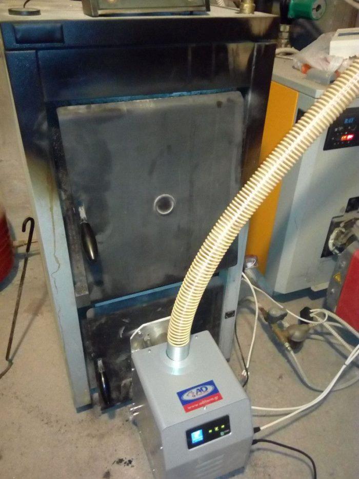 Τοποθέτηση καυστήρα πελλετ Bmix Digital σε λέβητα ξύλου Steco Mega F 48kw