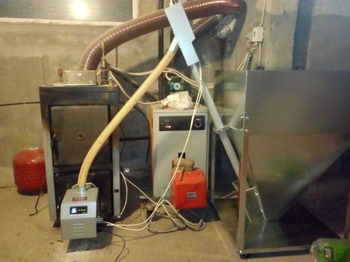 Μετατροπή καυστήρα πελλετ Bmix Digital σε λέβητα ξύλου Steco Mega F 48kw