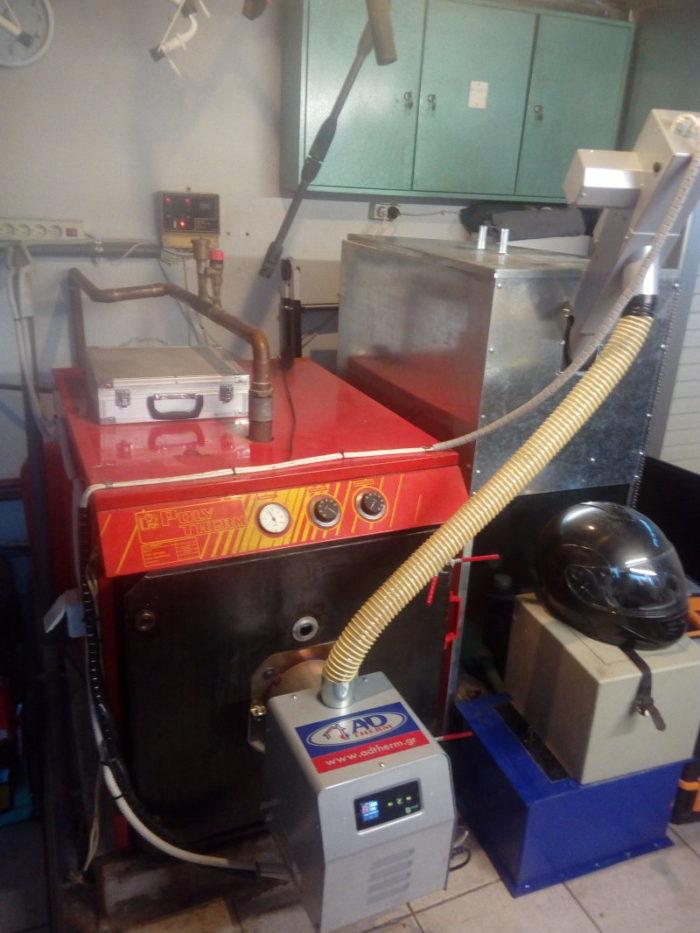 Μετετροπή του λέβητα πετρελαιου POLYTHERM σε πελλετ με τον καυστήρα Bmix Digital Ωραιόκαστρο