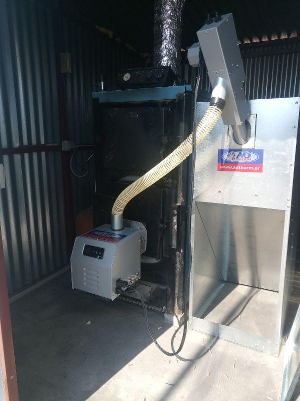 Τοποθέτηση καυστήρα πελλετ BMIX DIGITAL σε ξυλολέβητα Ελληνικής κατασκευής