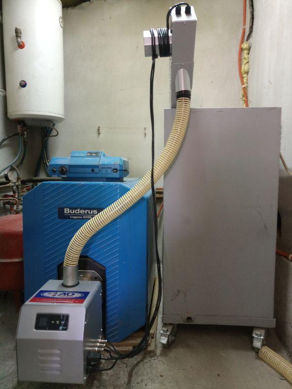 Καυστήρας BMIX DIGITAL 45kw σε μαντεμένιο λέβητα πετρελαίου BUDERUS