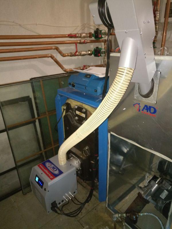 Νέος καυστήρας πελλετ BMIX DIGITAL 35kw σε μαντεμένιο λέβητα πετρελαίου BUDERUS