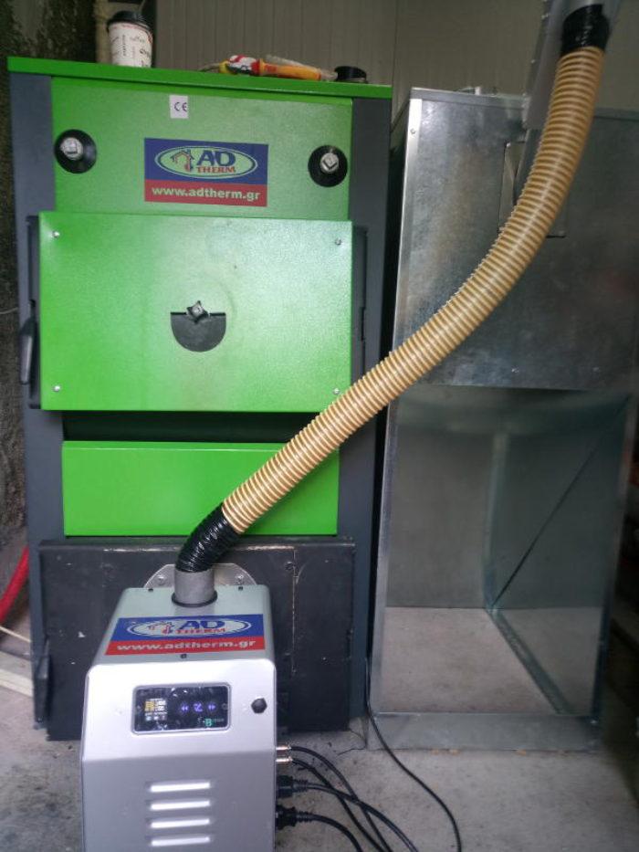 Εγκατάσταση λέβητα ADTHERM και καυστήρα πελλετ BMIX DIGITAL στην Χαλκηδόνα