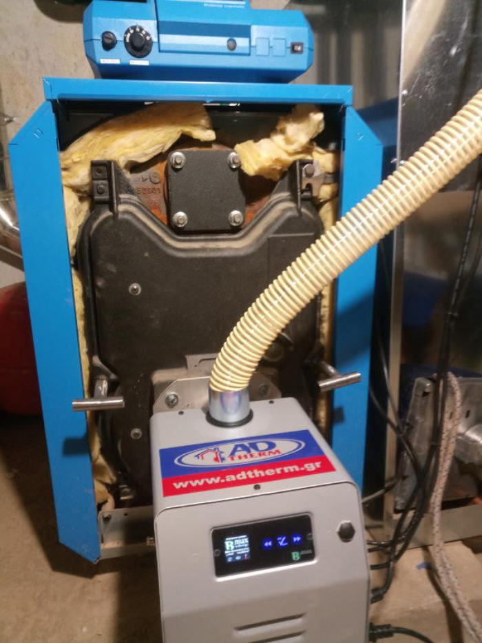 Λέβητας Buderus μετατράπηκε σε πελλετ με τον καυστήρα BMIX DIGITAL στην Πιερία