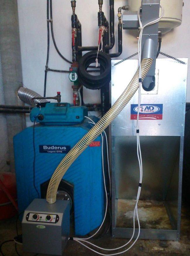 Μαντεμένιος λέβητας πετρέλαιου BUDERUS μετατράπηκε σε πελλετ με τον καυστήρα B-ECO