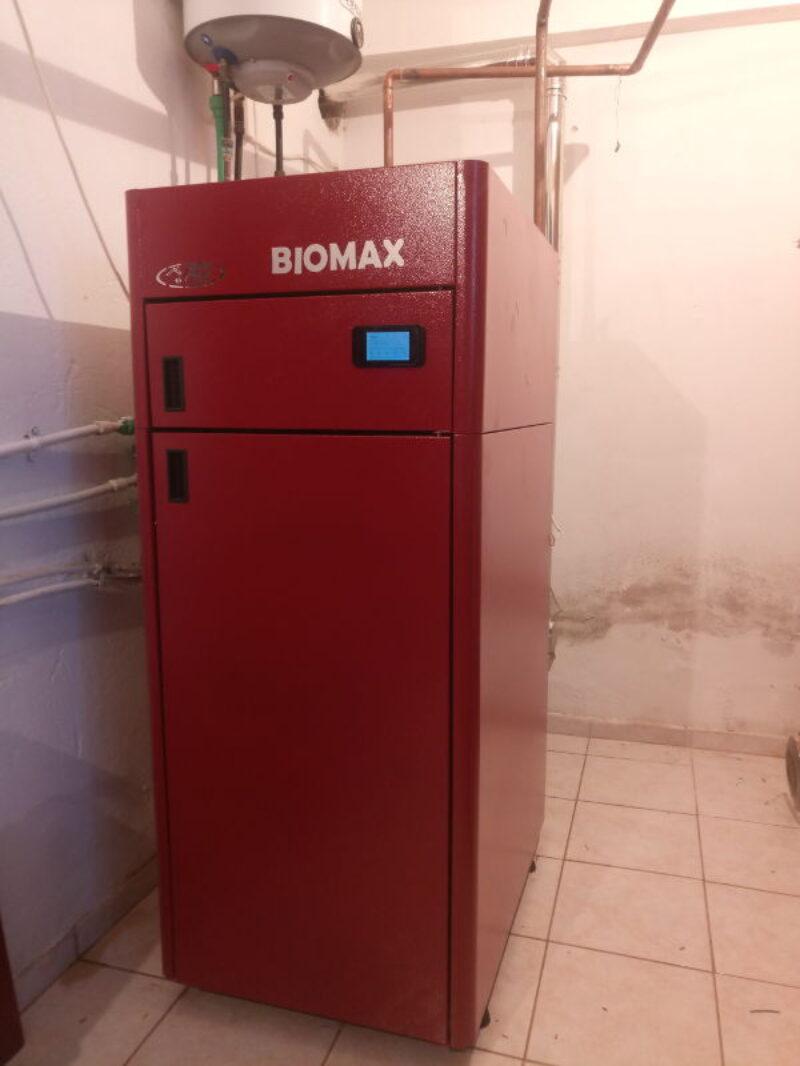 Λέβητας Ατομική Μονάδα Πελλετ BIOMAX 30kw σε κατοικία 140τ.μ. στα Αλώνια Πιερίας
