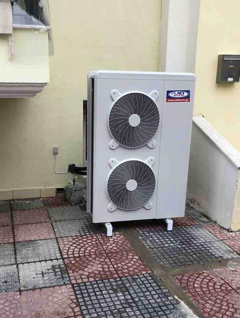 Αντλία θερμότητα ADTHERM Full DC inverter σε μονοκατοικία 180 τ.μ. στην Λητή Θεσσαλονίκης