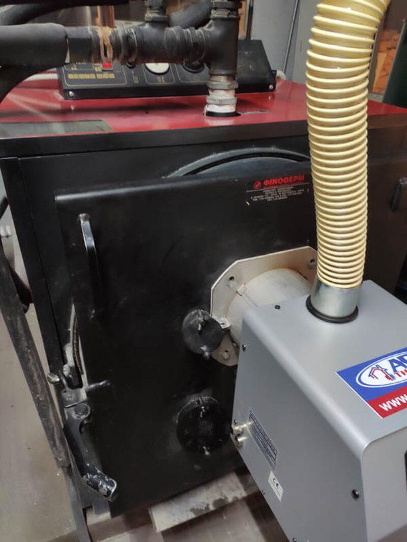 Προσαρμογή καυστήρα βιομάζας Bmix Digital σε λέβητας ξύλου Φινοθερμ στην Βέροια